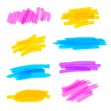 Set of hand drawn colorful highlighter stripes, strokes and marks. Abstract brush strokes. Vector illustration. Isolated on white background