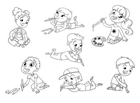 Kleine kinderen trekken foto's potloden en verf tot op de vloer. Grappig stripfiguur. Vector illustratie. Kleurboek Vector Illustratie