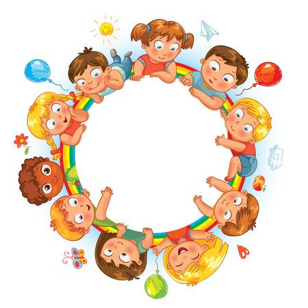 Niños felices que sostienen el cartel en blanco. Niños alrededor copia espacio circular. Listo para su mensaje. Ilustración del vector. Aislado en el fondo blanco