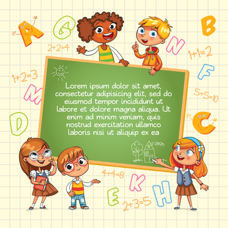 cover book: Back to school. Template for advertising brochure. Ready for your message. Children look up with interest. Kid pointing at a blank template. Lorem ipsum. Funny cartoon character. Vector illustration