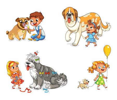 taming: Boy and dog eating one ice-cream. Little girl walking with big St. Bernard. Beautiful girl is combing her dog with brush. Child walking with dog on leash. Funny cartoon character. Vector illustration