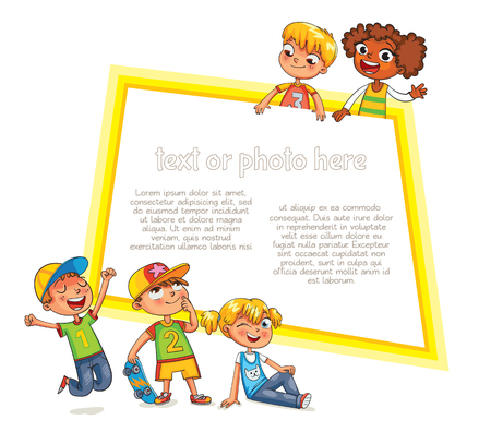 kid pointing: Template for advertising brochure. Ready for your message. Children look up with interest. Kid pointing at a blank template. Funny cartoon character. Vector illustration. Isolated on white background