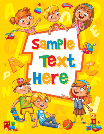 Children book cover. Template for advertising brochure. Ready for your message. Children look up with interest. Kid pointing at a blank template. Funny cartoon character. Vector illustration  イラスト・ベクター素材