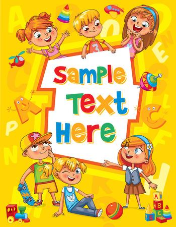 Enfants couverture du livre. Modèle de brochure publicitaire. Prêt pour votre message. Les enfants regardent avec intérêt. Kid pointant vers un modèle vierge. personnage de dessin animé drôle. Vector illustration