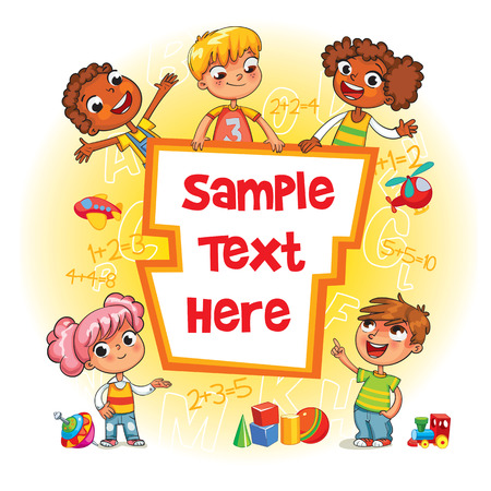 Children book cover. Template for advertising brochure. Ready for your message. Children look up with interest. Kid pointing at a blank template. Funny cartoon character. Vector illustration Illustration