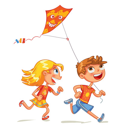 Children flying a kite. Funny cartoon character. Vector illustration. Isolated on white background Stock Illustratie