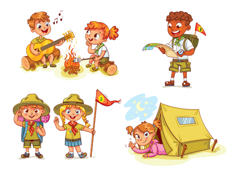 Scout honor hand gesture. Camping. Boy playing guitar around the campfire. Kid studying a tour route map. Girl lying in camping tent. Roasting marshmallows on campfire. Funny cartoon character. Set Vectores