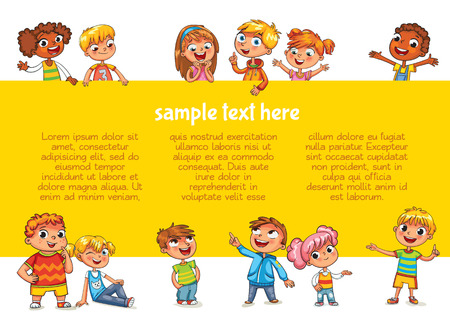Happy children holding blank poster. Template for advertising brochure. Ready for your message. Children look up with interest. Kid pointing at a blank template. Funny cartoon character. Lorem ipsum Çizim