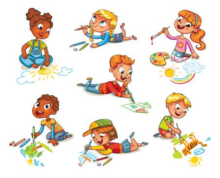 小さな子供たちは、写真の鉛筆と塗料の床の上に敷設を描画します。彼女の胃の上に横たわると、紙の上のデッサンを作ってを子供します。面白い  イラスト・ベクター素材
