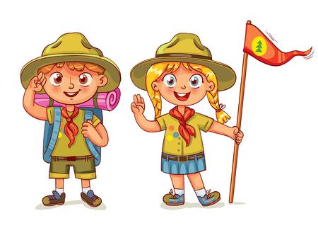 Scout garçon et scout girl. Scout geste de la main d'honneur. Les enfants scout les gens d'aventure camping. Randonnée groupe de touristes de loisirs. Illustration vectorielle Personnage drôle de bande dessinée. Isolé sur fond blanc