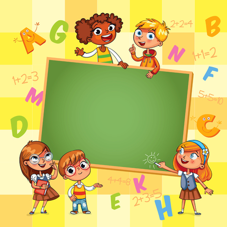 kid pointing: Back to school. Template for advertising brochure. Ready for your message. Happy children holding blank poster. Kid pointing at a blank template. Funny cartoon character. Vector illustration