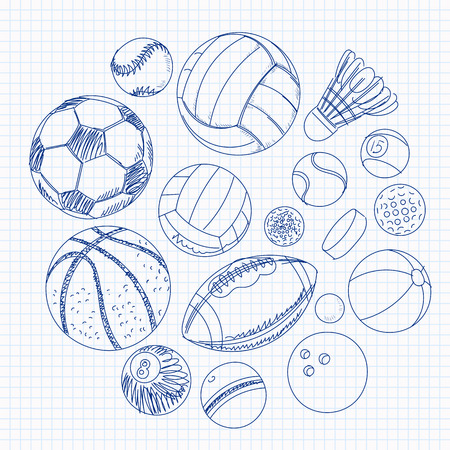 Freehand drawing sport balls items on a sheet of exercise book. Vector illustration. Set