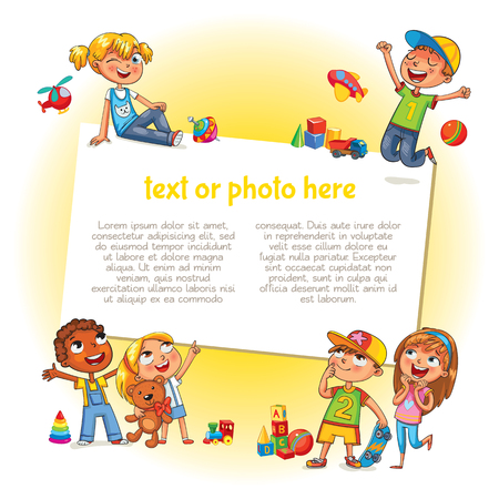 Template for advertising brochure. Ready for your message. Happy children holding blank poster. Kid pointing at a blank template. Lorem ipsum. Funny cartoon character. Vector illustration  イラスト・ベクター素材