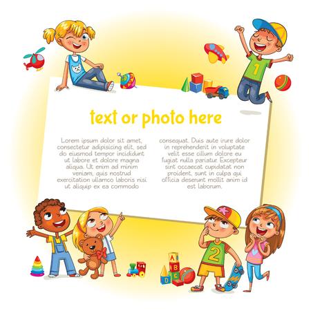 広告パンフレットのテンプレートです。あなたのメッセージを準備します。幸せな子供は、空白のポスターを保持しています。子供は、空白のテン  イラスト・ベクター素材