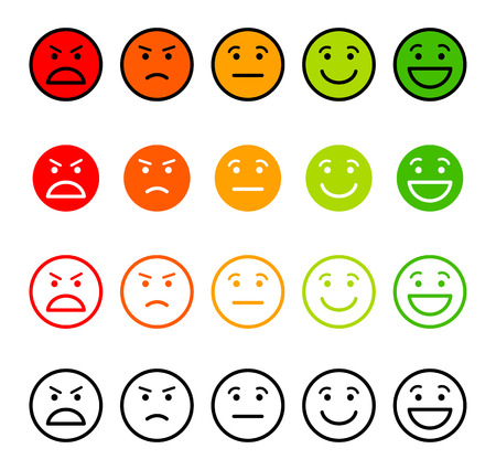 green face: Iconic illustration of satisfaction level. Range to assess the emotions of your content. Excellent, good, normal, bad, awful. Vector illustration. Isolated on white background