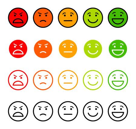 Iconische illustratie van tevredenheid. Bereik voor de emoties van uw inhoud te beoordelen. Uitstekend, goed, normaal, slecht, verschrikkelijk. Vector illustratie. Geïsoleerd op witte achtergrond Vector Illustratie