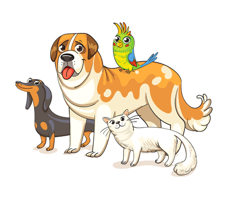 Two dogs, a cat and a parrot standing together. Best friends ever. Funny cartoon character. Vector illustration. Isolated on white background Illustration