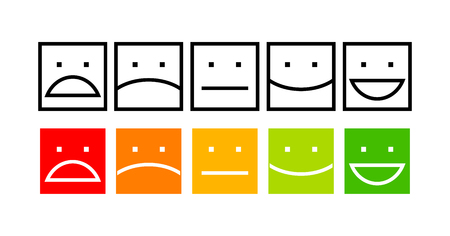 Iconic illustration of satisfaction level. Range to assess the emotions of your content. Excellent, good, normal, bad, awful. Vector illustration. Isolated on white background Vetores