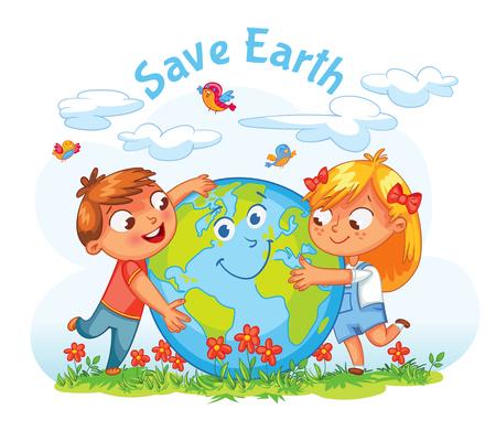 Salvar la Tierra. 22 de Abril - Día de la Tierra. Niño y niña abrazando el planeta. personaje de dibujos animados divertido. Ilustración del vector. Aislado en el fondo blanco