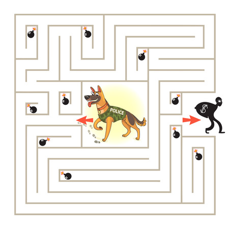 Help the dog to find the right way and catch the criminal. Maze Game with Solution. Tangled lines. Funny cartoon character. Vector illustration. Isolated on white background Illustration