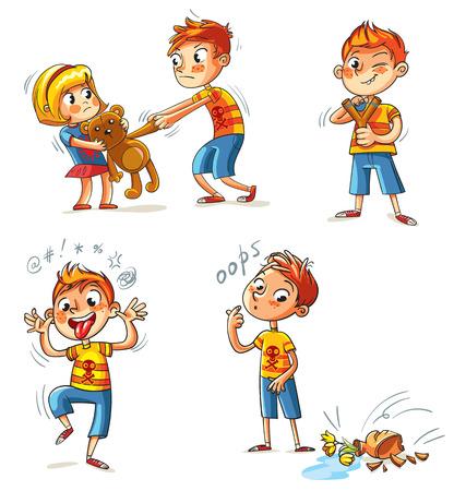 Mal comportamiento. El niño quiere tomar el juguete de la chica. El muchacho se rompió un jarrón. Bully con un shooting de la catapulta. El muchacho mueca y saca la lengua. personaje de dibujos animados divertido. Aislado en el fondo blanco. Conjunto Ilustración de vector