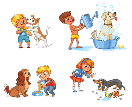 Happy boy with a dog licking her face. Labrador taking a bubble bath. Boy filling pet bowl with dry food for dog. Cocker Spaniel waiting for food. Girl scolding pet for disobedience and broken things Banco de Imagens - 69019200