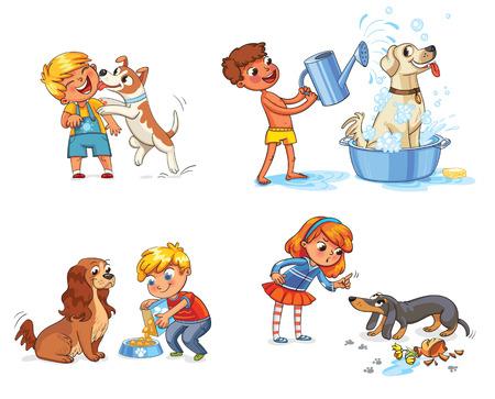 kid vector: niño feliz con un perro que lame la cara. Labrador tomando un baño de burbujas. Boy llenar un tazón mascota con comida seca para perros. Cocker Spaniel esperando por la comida. Chica regañando mascota por desobediencia y rotas las cosas Vectores