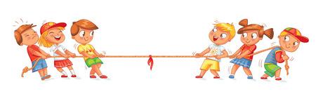 Kinderen trekken het touw. Kinderen spelen touwtrekken. Grappig stripfiguur. Vector illustratie. Geïsoleerd op witte achtergrond