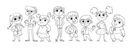 companionship: Cute variety of children standing in a row. Vector illustration. Funny cartoon character. Isolated on white background. Coloring book