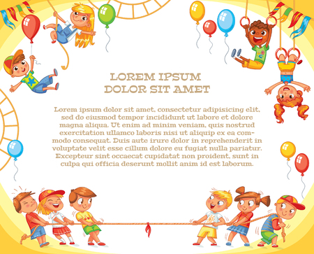 Amusement park. Playground. Template for advertising brochure. Ready for your message. Children pull the rope. Kids playing tug of war. Lorem ipsum. Funny cartoon character. Vector illustration