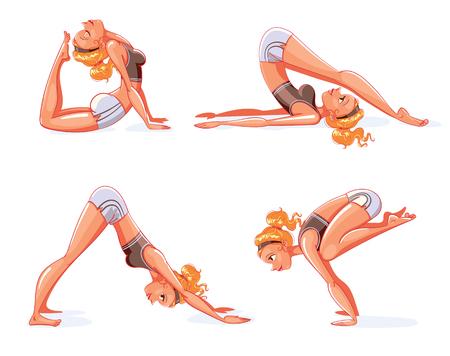 Rajakapotasana, Halasana (Plow Pose), Adho Mukha Svanasana (downward-facing dog Pose), Bakasana (Crane Pose). The girl is engaged in yoga. Funny cartoon character. Vector illustration. Isolated