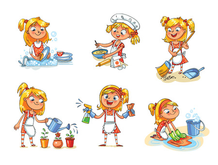 Limpeza de casa. A menina está ocupada em casa: regando flores, lavando pratos, varrendo o pó com uma vassoura, lavando o chão, preparando-se para comer, cozinhando. Personagem de desenho animado Ilustração vetorial