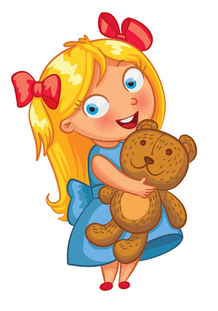 Little girl hugging the teddy bear. Funny cartoon character. Vector illustration. Isolated on white background