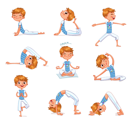 Boy engaged in physical exercises. Children fitness. Yoga kid. Gymnastics for children. Plays sports. Funny cartoon character. Vector illustration. Isolated on white background Vettoriali