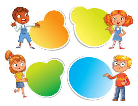 Pupils pointing at a poster. Ready for your message. Colorful template for advertising brochure with a cute happy kid. Funny cartoon character. Vector illustration. Isolated on white background Vettoriali