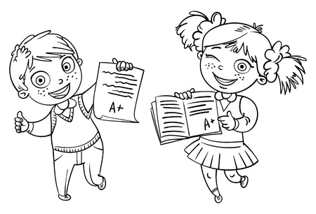 Boys and girls showing perfect test results. An A student. Funny cartoon character. Vector illustration. Isolated on white background. Coloring book