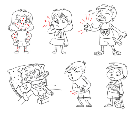 Children get sick. Child has high temperature. Boy hit with hammer on finger. Toothache. Boys stomach ache. Girls body rash. Broken limbs. Funny cartoon character. Vector illustration. Coloring book