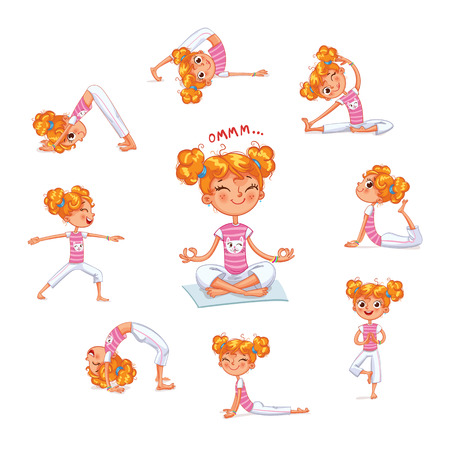 Girl engaged in physical exercises. Children fitness. Yoga kid. Gymnastics for children. Plays sports. Funny cartoon character. Vector illustration. Isolated on white background Illustration
