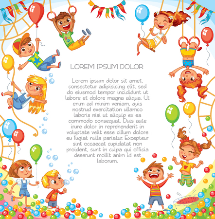 Amusement park. Playground. Children have fun on the rides. Template for advertising brochure. Ready for your message. Children look up with interest. Funny cartoon character. Vector illustration Vectores
