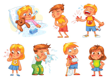 has: Children get sick. Child has high temperature. Boy hit with hammer on finger. Toothache. Boys stomach ache. Girls body rash. Broken limbs. Cold in head. Funny cartoon character. Vector illustration Illustration
