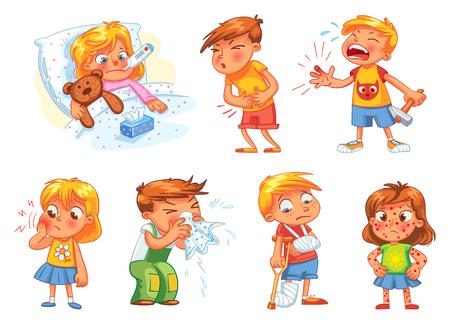 Dzieci zachorują. Dziecko ma wysoką temperaturę. Chłopiec trafiony młotkiem na palcu. Ból zęba. Ból brzucha chłopca. Ciało dziewczyny wysypka. Złamane kończyny. Zimno w głowie. Zabawny charakter kreskówek. Ilustracji wektorowych Ilustracje wektorowe