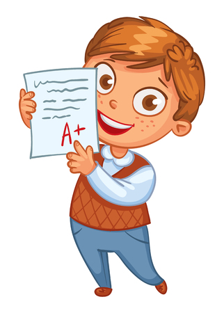 Boy learns perfectly. An A student. Funny cartoon character. Vector illustration. Isolated on white background Stock Illustratie