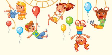 gimnasia: Los niños se divierten en los paseos. Parque de atracciones. Patio de recreo. Kid pesa sobre los anillos al revés. Subiendo a lo largo de la cuerda. Pivotar en el oscilación. Ilustración del vector. Aislado en el fondo blanco