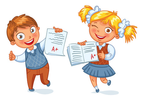 test results: Boys and girls showing perfect test results. An A student. Funny cartoon character. Vector illustration. Isolated on white background