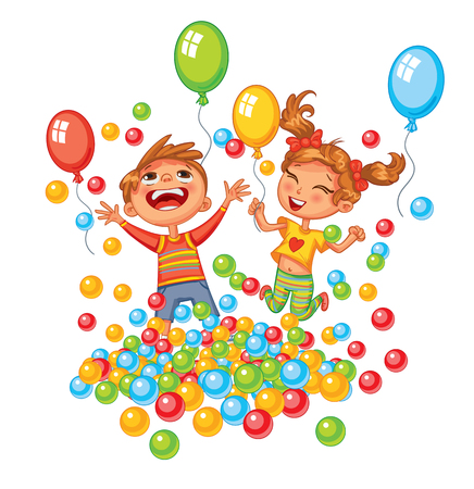 Happy boy and girl playing with colorful balls at playground. Jump for joy. Children have fun on the rides. Amusement park. Funny cartoon character. Vector illustration. Isolated on white background