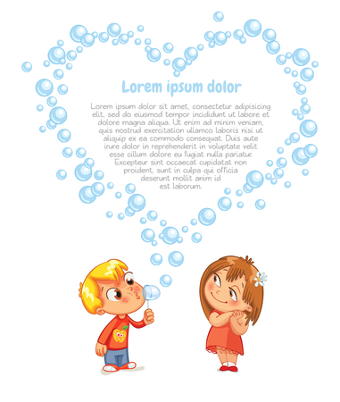 The boy swindled heart from bubbles. Advertising brochure for Valentines Day. Funny cartoon character. Lorem ipsum. Vector illustration. Isolated on white background