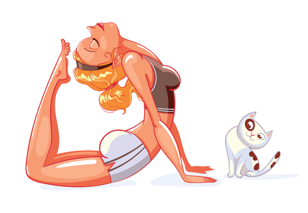 action girl: Rajakapotasana yoga pose. Girl and cat do yoga. Pet watching the action of its owner. Kitten distracts a person from working. Funny cartoon character. Vector illustration. Isolated on white background Illustration