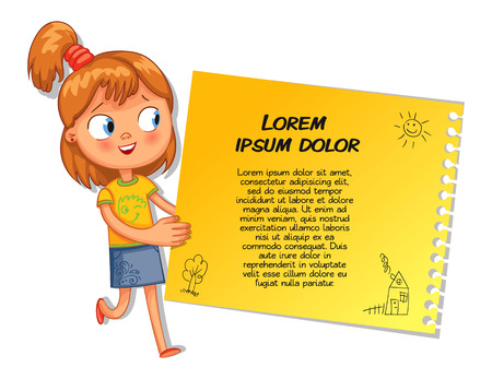 Schoolgirl pointing at a poster. Ready for your message. Colorful template for advertising brochure with a cute happy girl. Funny cartoon character. Vector illustration. Isolated on white background