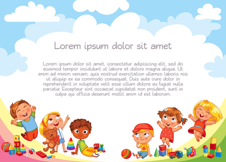 jardin de infantes: Playground. Template for advertising brochure. Ready for your message. Children look up with interest. Kid pointing at a blank template. Lorem ipsum. Funny cartoon character. Vector illustration