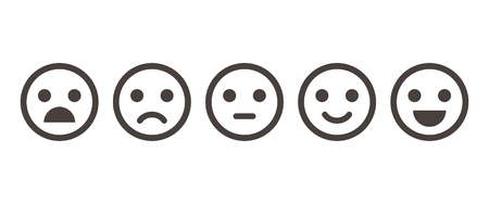 Iconic illustration of satisfaction level. Range to assess the emotions of your content. Feedback in form of emotions. User experience. Customer feedback. Excellent, good, normal, bad, awful.
